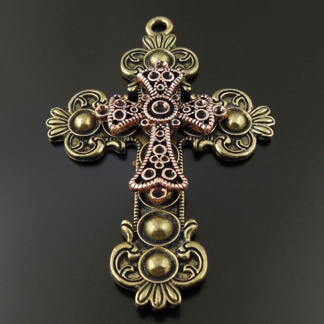 Vintage Style Bronze Copper Tone Alloy Double Cross Pendant Religion Charm 3PCS