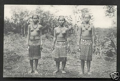 British North Borneo nude Dayak Girls Malaysia ca 1910