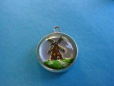 Vintage silver HOLLAND WINDMILL INTAGLIO BUBBLE charm REVERSE PAINTED CRYSTAL
