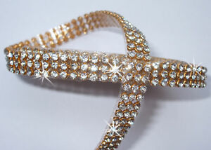 3mm-CHATON-3strip-CLR-GLD-iron-on-CRYSTAL-DIAMANTE-Bling-ROPE-REEL-Ribbon-border