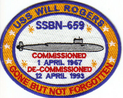 US NAVY SHIP PATCH, USS WILL ROGERS, SSBN-659