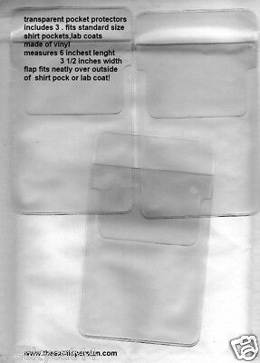 POCKET PROTECTORS FOR SHIRTS PACK OF 3 CLEAR  FOR SHIRTS AND LABCOATS