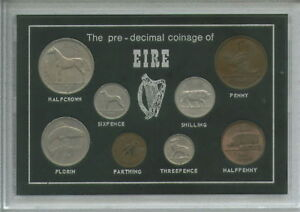 Republic-of-Ireland-Eire-Irish-Pre-Decimal-Coinage-Coin-Gift-Set-in-Display-Case