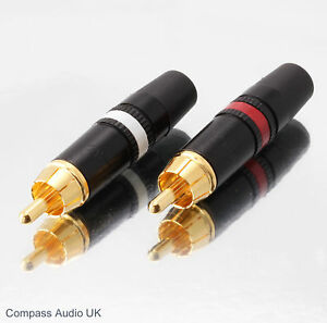 2-NEUTRIK-GOLD-PHONO-RCA-PLUGS-NYS373-Red-White-Professional-NEW