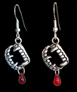 Bite-Me-True-Gothic-VAMPIRE-BLOOD-FANG-BANGER-EARRINGS-Halloween-Costume-Jewelry