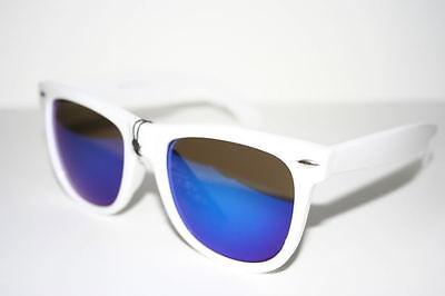 Wayfarer Sunglasses White Frame blue Mirror Lens Mens Shades Retro vintage 37