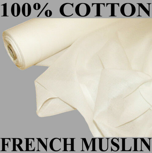 50 Meter Roll Of White French Designer Cotton Muslin Voile Fabric Curtain