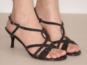 New-Womens-Medium-Heels-Slingback-Sandals-Black-Glitter