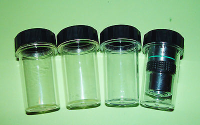 Set of 4  Microscope Objective Pots Storage Cases, NEW