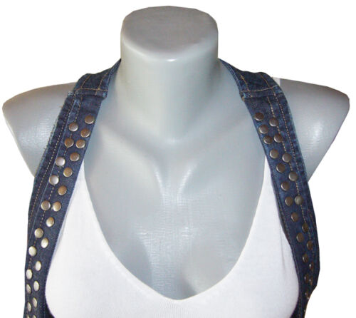 Design Jeansweste NIETEN Weste Jeansjacke Jacke USED BLEACHED 34 36 38 40 42 Top