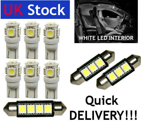 INTERIOR LED Bulbs FULL 6pc KIT WHITE fit FIAT BRAVO 2006 -