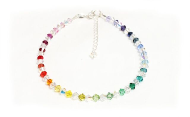.925 Sterling Silver Mixed Rainbow Crystals Anklet made with SWAROVSKI ELEMENTS