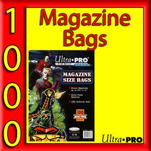 1000 MAGAZINE SIZE COMIC STORAGE SLEEVES BAGS ACID FREE