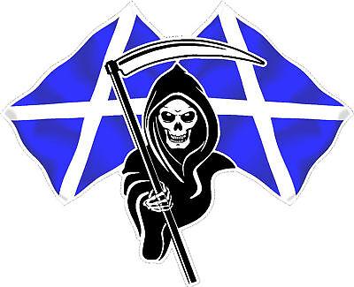 Racing Grim Reaper Skull Scotland Flag Car Sticker #4