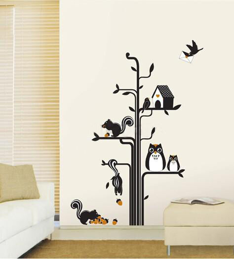 Owls Squirrels & Tree Art Decal Wall Stickers LARGE Home DIY Kids Room Decor