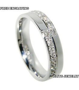 950 platinum womens anniversary wedding bands rings diamonds 4mm wide new ebay. Black Bedroom Furniture Sets. Home Design Ideas