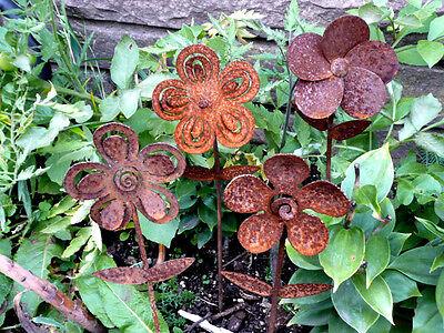 Iron Cut Metal Flower Set/4 Garden Lawn Landscape Yard Outdoor Home Art Decor
