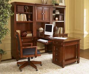captivating home office desk furniture wood | Wynwood Artisan Cherry Wood Wall Computer Desk Unit Home ...