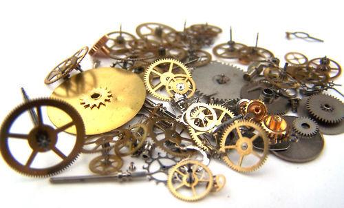 Vintage antique Steampunk Watch Parts Pieces gears cogs wheels 75+ Lot 5g