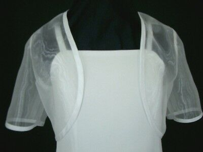 SHORT SLEEVED GIRLS ORGANZA WHITE BOLERO GIRL SIZES 4, 6, 8, 10 & 12