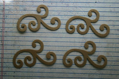 "4 Bare/Unfinished chipboard med. flourishes 2 7/8"" wide"