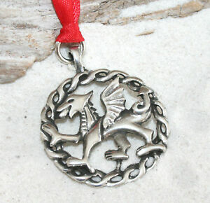 WALES-DRAGON-CELTIC-Pewter-Christmas-ORNAMENT-Holiday