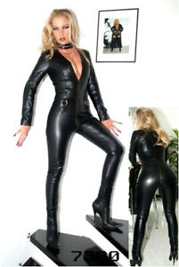 Ladies-Lycra-Spandex-Bodysuit-Catsuit-Dress-PVC-Catsuit-Sexy-Hen-Party-Outfit