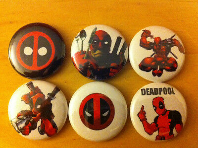 "DEADPOOL lot of 6 1"" pins X-MEN X-Force Marvel Universe Merc with a mouth HULK"