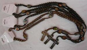 3pc-set-WOOD-ROSARY-CROSS-NECKLACES-christian-chain-charm-jesus-prayer-beads-G2