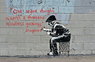 "Banksy - One Original Thought -24""x36"" Canvas Print Urban Graffiti"