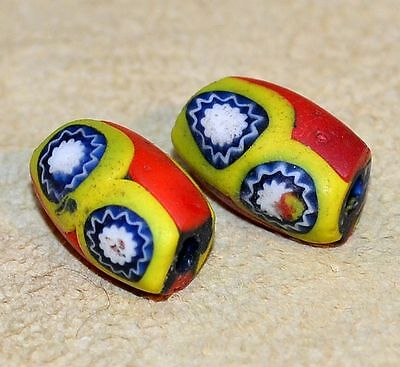 Antique Venetian Red & Yellow Millefiori Italian Cane Beads, African Trade Beads