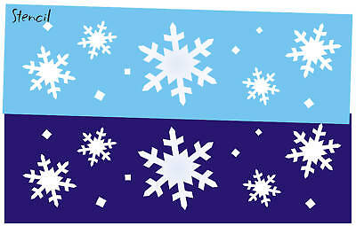 Primitive Seasonal STENCIL White Christmas Snowflakes Holiday Craft Blocks Art