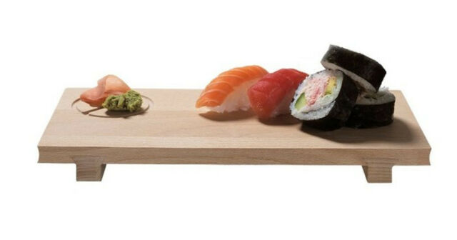ScanWood Beechwood Sushi Board w/ Ginger Wasabi Recess