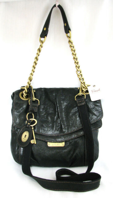 NEW FOSSIL GINGER BLACK FASHION CONVERTIBLE BAG X-BODY