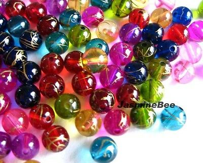 100*8mm Translucent Party Acrylic Plastic Round Beads MULTI