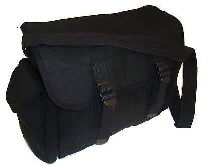 LARGE MILITARY MESSENGER BAG Heavy duty satchel SAS black canvas haversack
