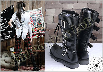 Visual Kei Punk heavy metal Zipper Hyde Calf Military boots blk 44 1992