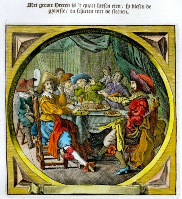 Jacob Cats's Hand-Colored Engraved Emblem -1655- DRINKING WINE AT THE FEAST