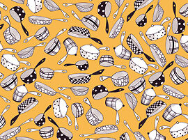 Loralie What's Cookin 21538S Pan Toss Yellow Cotton