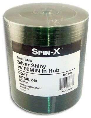 100-Pak =90-MINUTE= 800MB 24X Shiny-Silver Top CD-R's by SPIN-X