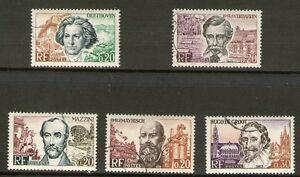 SERIE-TIMBRES-1382-1386-OBLITERES-CELEBRITES-EUROPEENNES