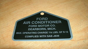 1967-1968-1969-1970-FORD-AIR-CONDITIONING-COMPRESSOR-METAL-OPERATING-CHARGE-TAG