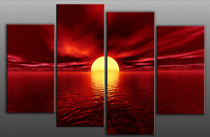 LARGE-RED-CANVAS-WALL-PICTURE-SEA-SUNSET-BEACH-100cm