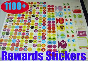 1100-Children-REWARDS-STICKERS-for-parents-teacher-school-CRAFT-CHART-Well-done