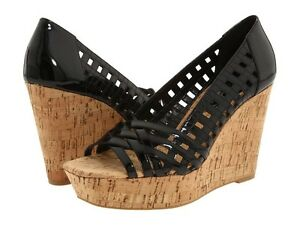 JESSICA-SIMPSON-TAMANDY-BLACK-PATENT-WEDGE-CORK-HEEL-SANDAL-WOMAN-SIZE-10-M