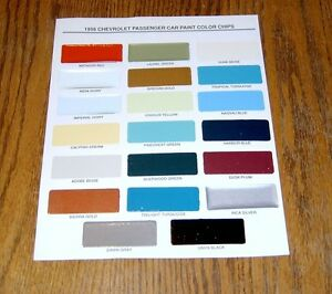1956 Chevy Paint Chip Chart All Original Colors Usa