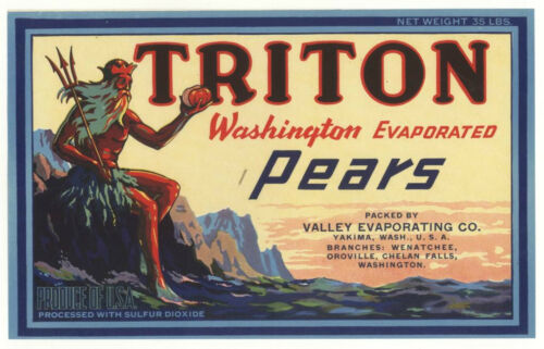 *Original* TRITON Greek God Trident Yakima Wash PEAR Label NOT A COPY!