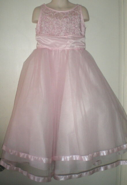 Joykids GIRLS Occasion DRESS 6 FLOWER Gown PINK Pearls