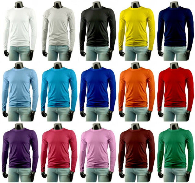 Mens Stylish Casual LongSleeve Cotton T-Shirt 15 Colors.(Sz) XS / S / M / L / XL