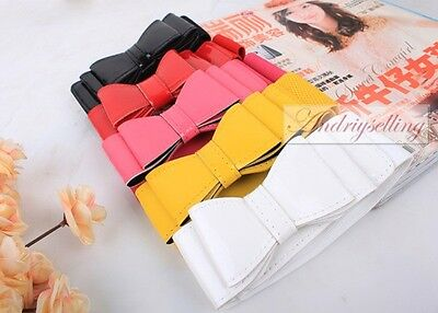 Women Girl Lady Fashion Casual Bowknot Elastic Stretch Waist belt 5 colors L18